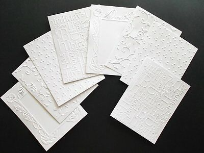 WHITE EMBOSSED CARD TOPPERS FRONTS LAYERS X 8 ASSORTED PATTERNS No 1 pack
