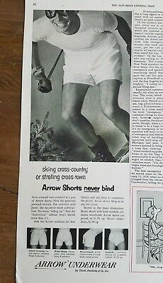 1954 Arrow men's underwear shorts never bind skiing cross country vintage ad