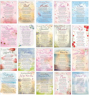 Plastic Weatherproof Grave Memorial Remembrance Tribute Card Various Relations