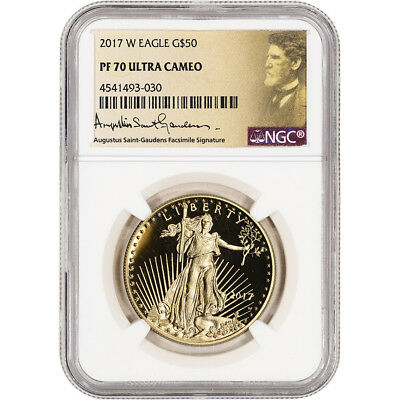2017-W American Gold Eagle Proof 1 oz $50 - NGC PF70 UCAM - St. Gaudens Label
