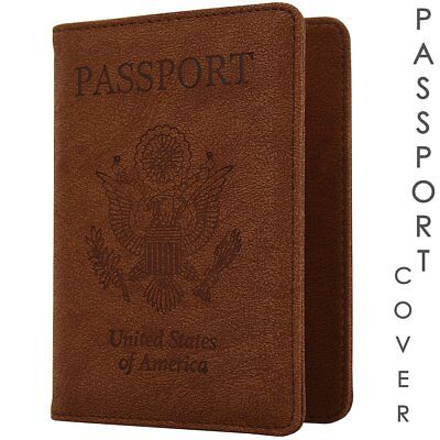 Passport Cover Holder USA Travell Case Genuine Leather Wallet Men Women 2018