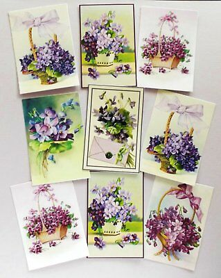 Printed Assorted Violets Card Toppers X 9 Vintage Antique All Occasion
