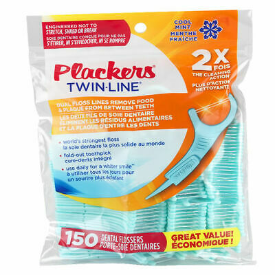 PLACKERS Twin Line Cool Mint Flosser  VALUE Pack  ( 4 bags of 150 count each)