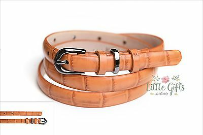 WHOLESALE Lot 30 x Orange Womens Ladies Genuine Leather skinny belt NEW