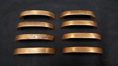 Architectural Salvage Art Deco Red Brass Drawer Pull Handles Set of 8