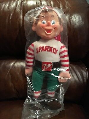 NEW Vintage Sparkly 7-Up Holiday Helper Elf Doll 1983