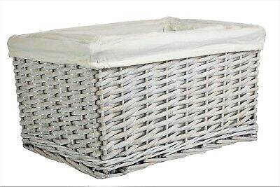 Grey Wash Wicker Storage Basket  Lined Willow Small Medium  Large Rattan Hamper