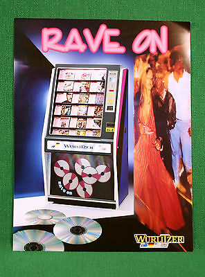 Original Wurlitzer Rave On Jukebox Color Brochure Flyer