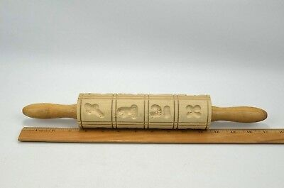 "16 Print Shape Wood Springerle Rolling Pin 15"" Made in West Germany"