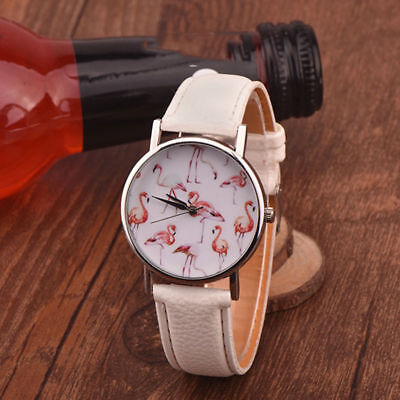 Fashion Women Flamingo Casual Leather Watch Female Quartz Ladies Wristwatch