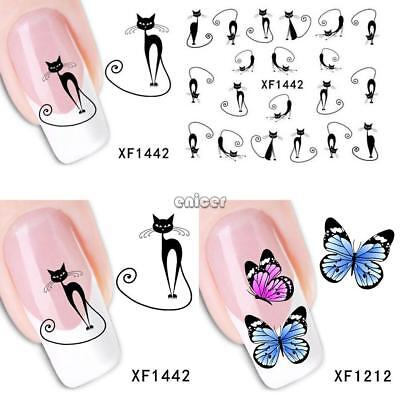 Diseño Animal Transferencia de Agua Nail Art Sticker DIY Tips Calcomanías ENE