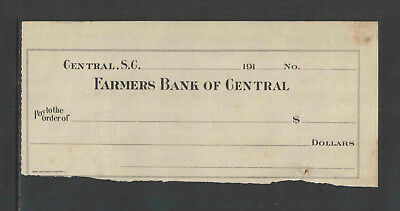 191x FARMERS BANK OF CENTRAL CENTRAL SC ANTIQUE BANK CHECK