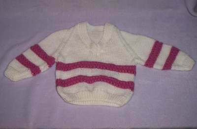 Cute Little One's Hand Knitted  Vee Neck Jumper, Size 18 Months
