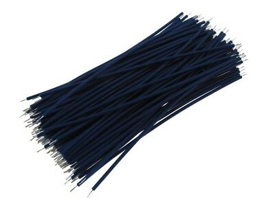 【10CM】 30AWG Standard Jumper Wire Pre-cut Pre-soldered - Blue - Pack of 100