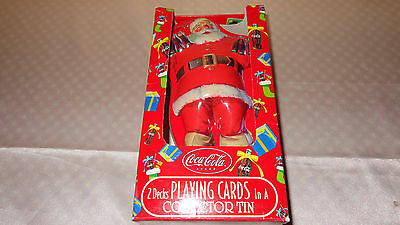 """sealed"" Coca Cola Playing Cards 2 Decks W/santa Christmas Collectors Tin"