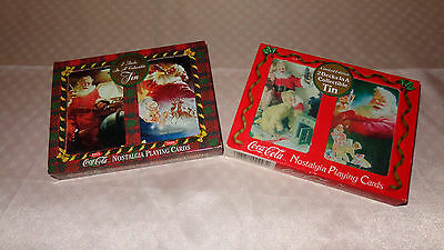 """sealed"" 2 Sets Coca Cola Nostalgia Playing Cards 4 Decks W/santa Christmas Tins"