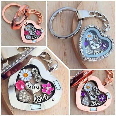 Personalised heart locket keyring gift for mum sister nana teacher Birthday gift