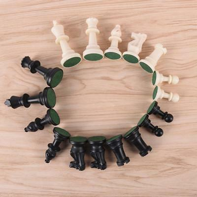 Portable Plastic Chess White&Black Set Hand Crafted Pieces Travel Game 32pcs 6A
