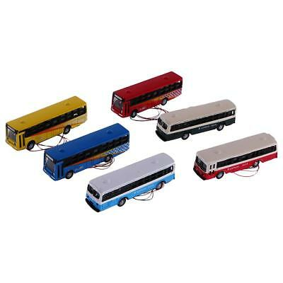 6pcs Alloy Diecast Bus City School Bus Diorama Scenery Layout 1/150 N Scale