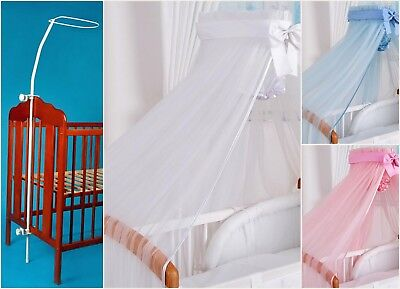 HUGE LUXURY CANOPY DRAPE+ROD 480/170cm for BABY Cot 120/60cm or Cot Bed 140/70cm