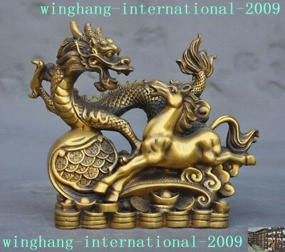 old China Chinese bronze copper Fengshui wealth yuanbao coin Dragon horse statue