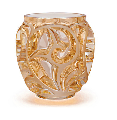 "LALIQUE CRYSTAL GOLD LUSTER ""TOURBILLIONS"" SMALL VASE. Ref:10466100 RRP £680"