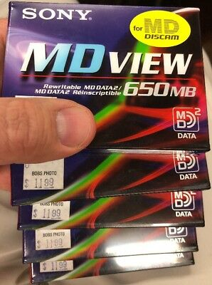 Lots of 5 SONY Mini discs MDVIEW MMD-650A MD DATA 2 MDDATA2 for DCM-M1