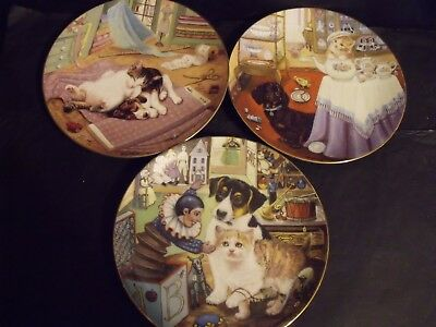 3 Little Shopkeepers Cat Plates
