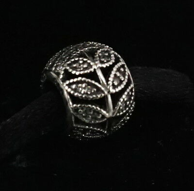 Authentic PANDORA Sterling Silver Sparkling Leaves Charm 791380CZ