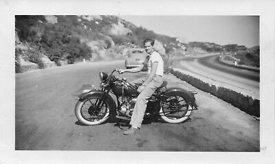 4 Vtg B & W Photos Old Motor Bike Motorcycle w/Rider Autos from 40s