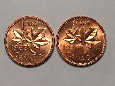 Lot Of 2 Canadian Cents Penny  1963 & 1964 In Brilliant Uncirculated Condition