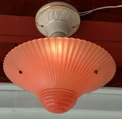 Antique Art Deco Pink Glass Shade 3-Chain Hanging  Light Fixture Ceiling Lamp