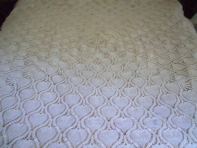 "Vintage Hand Crochet Square Tablecloth Pineapple Motif 74""x 74"""