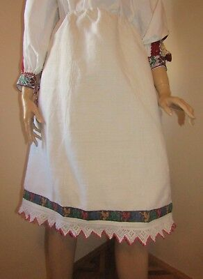 Antique hand embroidered on homespun linen medieval skirt from Transylvania