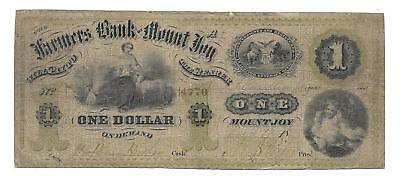 PA, Mount Joy. Farmers Bank of Mount Joy $1.00  Rare PA note..VG/VG+