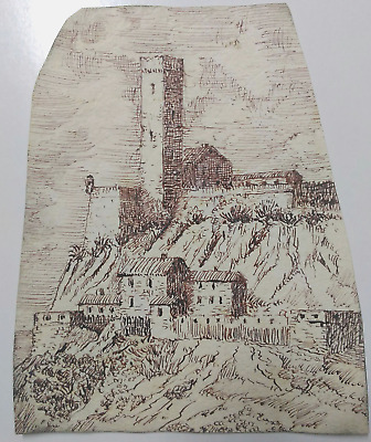 FORTEZZA con torre, fort, brown ink nib-pen drawing.