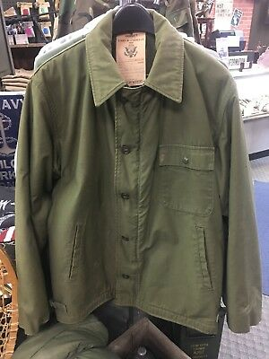 4429d977767 USN COLD WEATHER Deck Jacket Permeable A-2 Large 42-44 US Navy Coat ...
