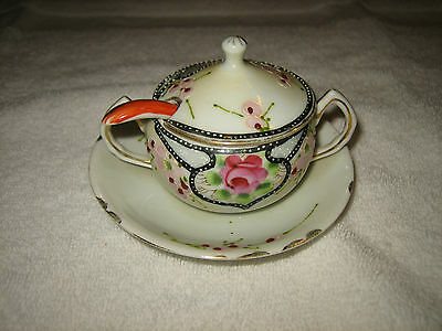 Vintage Porcelain Sugar Bowl With Saucer And Spoon~Made In Japan~Very Nice~L@@k~