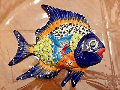 TALAVERA MEXICAN POTTERY - ANIMALS - ANGEL FISH (SET OF 3) Assorted Colors
