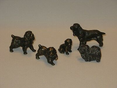 Lot of Vintage Brass Dog Figurines - Cocker Spaniels & Shih Tzu?