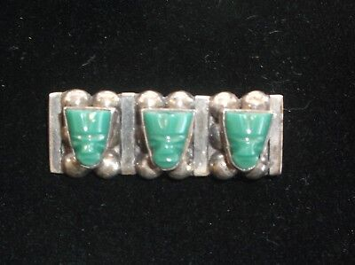 Vintage Silver Mexican Jade Carved Mayan/Aztec Face Mask Brooch