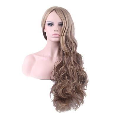 Mix Brown Stylish Women Daily Party Long Wavy Curly Synthetic Full Hair Wig