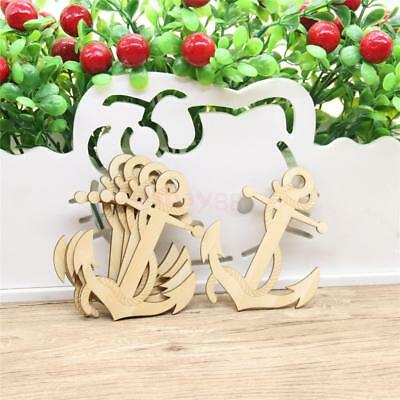 10/set Unfinished Wood Anchor Shapes Hanging Tags Cutouts Decoration Craft