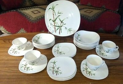 RARE Vintage 31 Piece MCM Edwin Knowles China BAMBOO K4070 Dinnerware Set