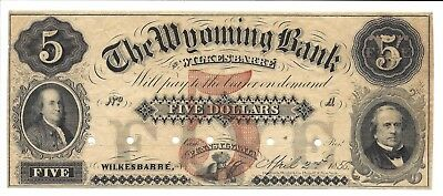 PA, Wilkesbarre. The Wyoming Bank $5.00  Archival Specimen XF+/AU Scarce!