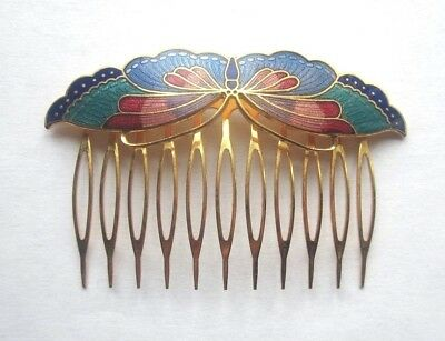 Vintage BLUE CLOISONNE BUTTERFLY HAIR COMB Golden Brass Pick Estate Enamel