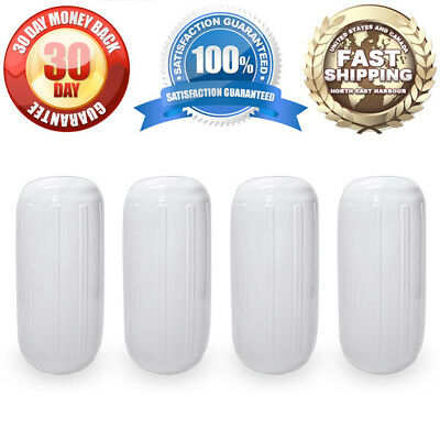 "4 NEW RIBBED BOAT FENDERS 8"" x 20"" WHITE CENTER HOLE BUMPERS MOORING PROTECTION"