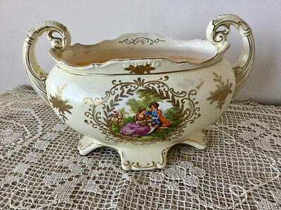 Antique 1800's - 1900's Glazed Porcelain Soup Tureen with Gold Hand Painted Bowl