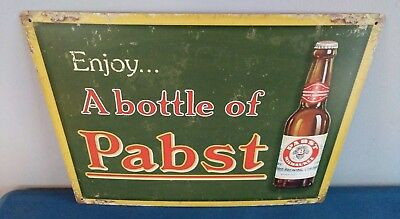 "(L@@K) Pabst Blue Ribbon Beer ""Enjoy A Bottle Of Pabst"" Tin Sign Game Room NEW"