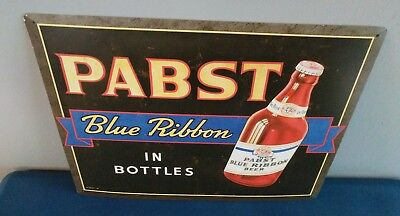 (L@@K) Pabst Blue Ribbon Beer In Bottles Tin Sign Game Room Man Cave